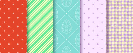 Eggs, Gingham, Polka Dot and Striped pattern designs collection. Easter seamless Patterns set. Endless texture for web, picnic tablecloth, wrapping paper. Pattern templates in Swatches panel.