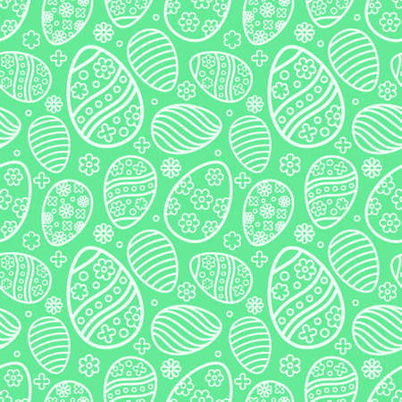 Easter seamless Patterns set in pastel green color. Eggs with ornament pattern design collection. Endless texture for web page, picnic tablecloth, wrapping paper. Pattern templates in Swatches panel.