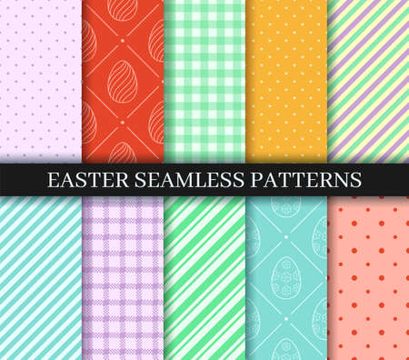 Easter seamless Patterns set. Eggs, Gingham. Polka Dot and Striped pattern designs collection. Endless texture for web, wrapping paper. Pattern templates in Swatches panel, easy to change in one click