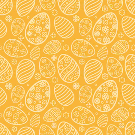 Easter seamless Patterns set in pastel orange color. Eggs with ornament pattern design collection. Endless texture for web page, picnic tablecloth, wrapping paper. Pattern templates in Swatches panel.