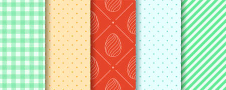 Easter seamless Patterns with Eggs, Gingham, Polka Dot and Stripes. Pattern designs collection. Endless texture for web, picnic tablecloth, wrapping paper. Pattern templates in Swatches panel.