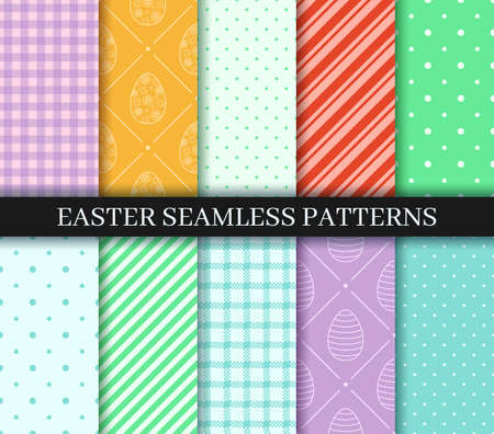 Easter seamless Patterns set. Endless texture for web, wrapping paper. Eggs, Gingham, Polka Dot and Striped pattern designs collection. Pattern templates in Swatches panel, easy to change in one click