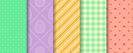 Easter endless texture for web, picnic tablecloth, wrapping paper. Pattern templates in Swatches panel. Seamless Patterns collection with Eggs, Gingham, Polka Dot and Striped. 일러스트