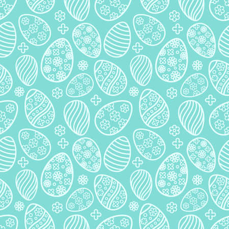Easter seamless Patterns set in pastel blue color. Eggs with ornament pattern design collection. Endless texture for web page, picnic tablecloth, wrapping paper. Pattern templates in Swatches panel.