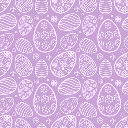 Easter seamless Patterns set in pastel purple color. Eggs with ornament pattern design collection. Endless texture for web page, picnic tablecloth, wrapping paper. Pattern templates in Swatches panel. 일러스트