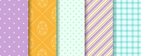 Set of Easter seamless Patterns. Pattern design set with Eggs, Gingham, Polka Dot and Stripes. Endless texture for web, picnic tablecloth, wrapping paper. Pattern templates in Swatches panel. 일러스트