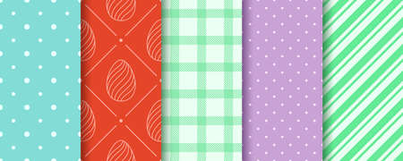 Easter seamless Patterns collection in pastel colors. Eggs, Gingham, Polka Dot and Striped pattern set. Endless texture for web, picnic tablecloth, wrapping paper. Pattern templates in Swatches panel. 일러스트