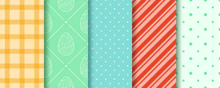 Easter seamless Patterns set in pastel colors. Eggs, Gingham, Polka Dot and Striped pattern collection. Endless texture for web, picnic tablecloth, wrapping paper. Pattern templates in Swatches panel.