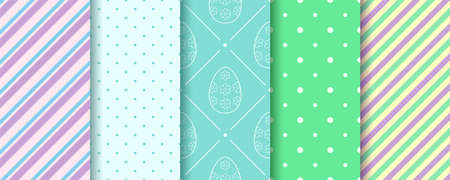 Easter seamless Patterns with Eggs, Gingham, Polka Dot and Stripes in pastel colors. Endless texture for web, picnic tablecloth, wrapping paper. Pattern templates in Swatches panel