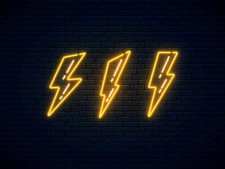 Neon lightning bolt set. High-voltage thunderbolt neon symbol. Lightning, thunder and electricity sign. Banner design, bright advertising signboard elements. Vector illustration. Electric discharge.