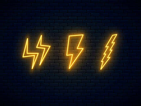 Neon lightning bolt set. High-voltage thunderbolt neon symbol. Three lightning, thunder and electricity sign. Banner design, bright advertising elements. Vector illustration. Electric discharge.
