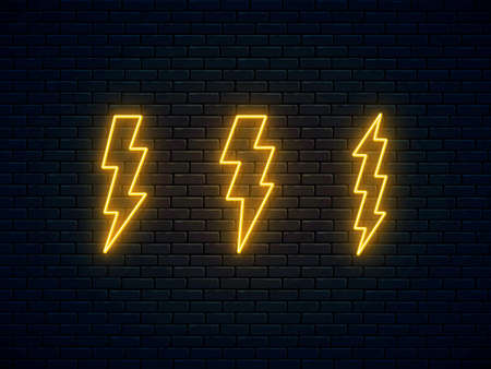 Neon lightning bolt set. High-voltage thunderbolt neon symbol. Thunder and electricity sign. Banner design, bright advertising signboard elements. Vector illustration. Electric discharge. 일러스트