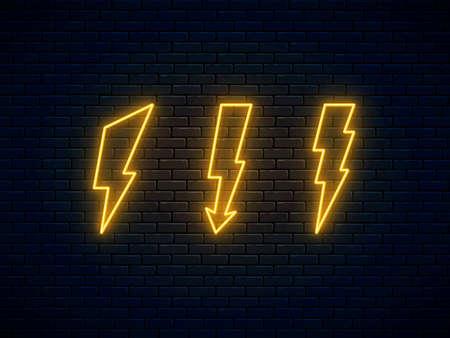 Neon lightning bolt set. High-voltage thunderbolt neon symbol. Lightning, thunder and electricity sign. Bright banner design, advertising signboard elements. Vector illustration. Electric discharge.