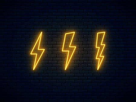 Neon lightning bolt set. Electric discharge symbol. High-voltage thunderbolt neon. Lightning, thunder and electricity sign. Banner design, bright advertising signboard elements. Vector illustration. 矢量图像