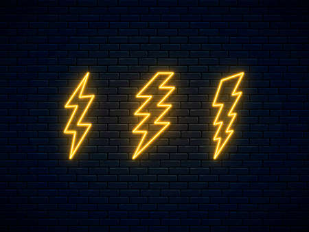 Neon lightning bolt set. Banner design, bright advertising signboard elements. High-voltage thunderbolt neon symbol. Lightning, thunder and electricity sign. Vector illustration. Electric discharge.