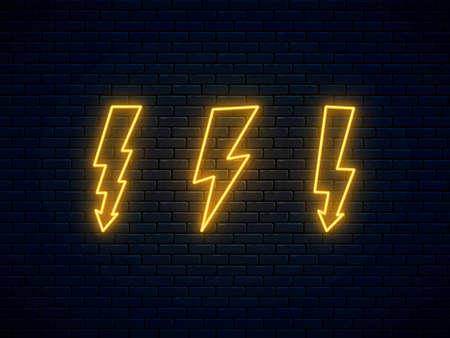 Neon lightning bolt set. Banner design, bright advertising signboard elements. Vector illustration. Electric discharge symbol. High-voltage thunderbolt neon. Lightning, thunder and electricity sign.
