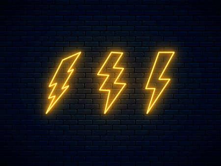 Neon lightning bolt set. Lightning, thunder and electricity sign. Banner design, bright advertising signboard elements. Vector illustration. Electric discharge. High-voltage thunderbolt neon symbol.