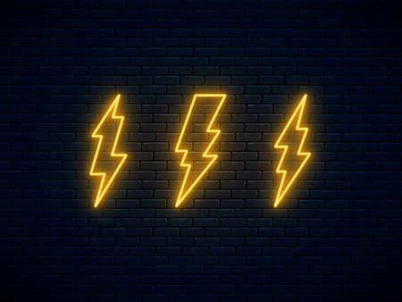 Neon lightning bolt set. High-voltage thunderbolt neon symbol. Banner design, bright advertising signboard elements. Electric discharge. Lightning, thunder and electricity sign. Vector illustration.