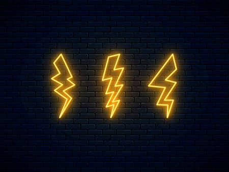 Neon lightning bolt set. High-voltage thunderbolt neon. Electric discharge symbol. Banner design, bright advertising signboard elements. Lightning, thunder and electricity sign. Vector illustration.