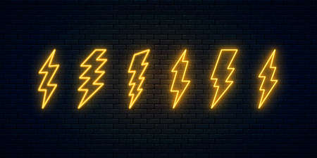 Neon lightning bolt set. Six electric discharge neon symbols. Thunder and electricity sign. Banner design, bright advertising signboard elements. Vector illustration. High-voltage thunderbolt. Ilustración de vector