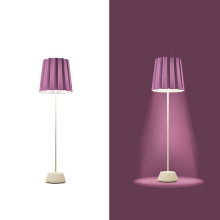 floor lamp: Floor lamp on a white and dark background. Vector Illustration