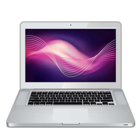 Laptop silver color on a white background. Vector Vector