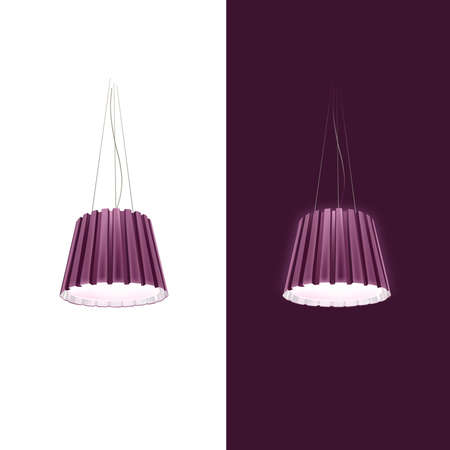 Pendant lamp on a white and dark background. Vector Vector