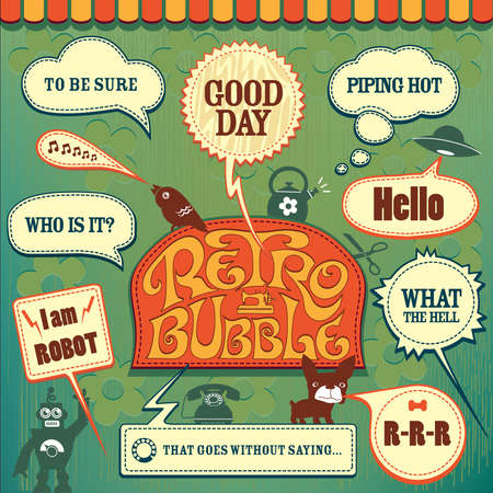 Retro bubbles collection Vector