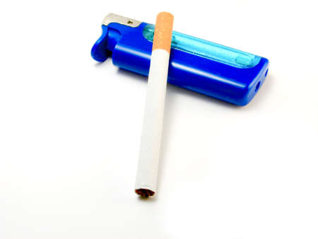 Isolated blue lighter & cigarette over white background photo