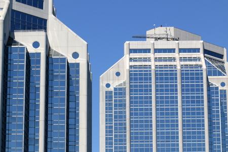 Blue buildings, blue sky. Banco de Imagens
