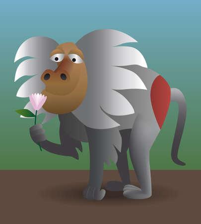 sniffing: Monkey sniffing pink flower Illustration