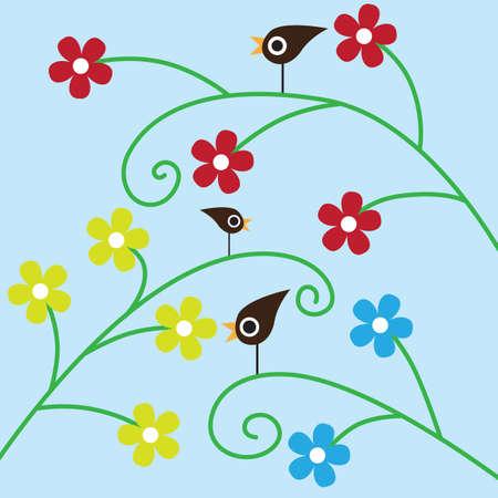 three birds sitting on the flowers Stock Vector - 7389063
