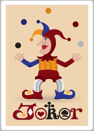 joker playing card: joker juggle balls Illustration