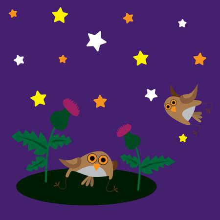 ostrożeń: Owls i thistle