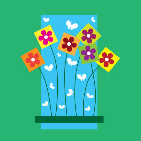 Square flowers Vector