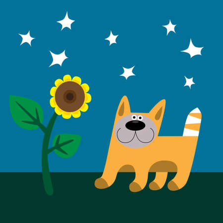 Cat and sunflower Vector