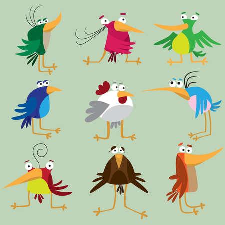 Funny birds set Vector