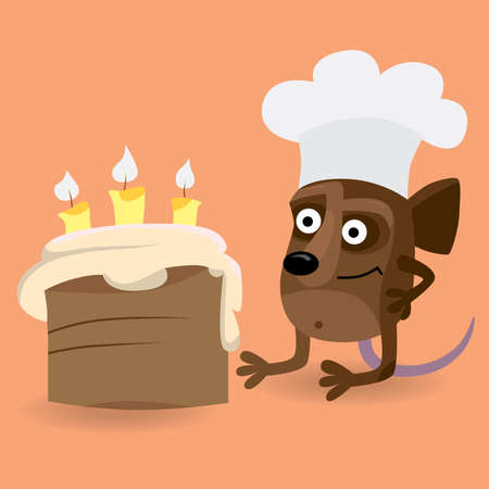 Happy Mouse looking at birthday cake Vector
