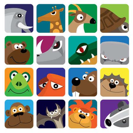 wild animals  icon set Illustration