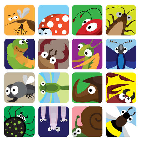 red ant: Insect icons set Illustration