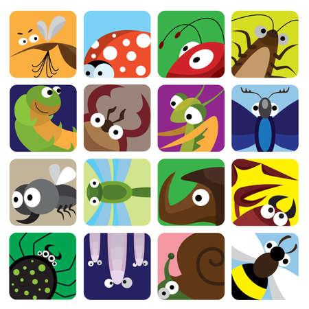 moscerino: Set di icone degli insetti  Vettoriali