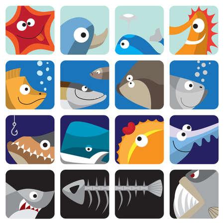 pilluelo: Conjunto de iconos de pescado