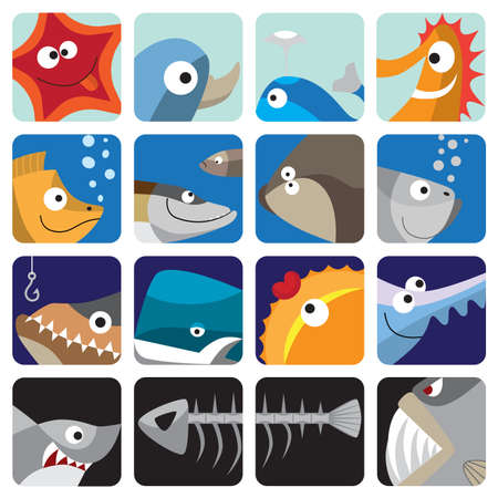 Fish icon set Иллюстрация
