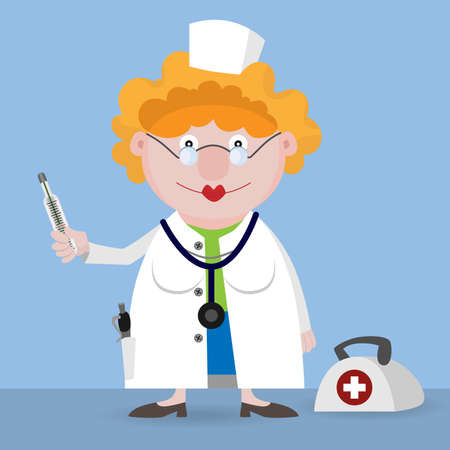 Doctor with a thermometer in a hand Vector
