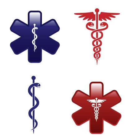 pharmacy snake symbol: Medical symbols set