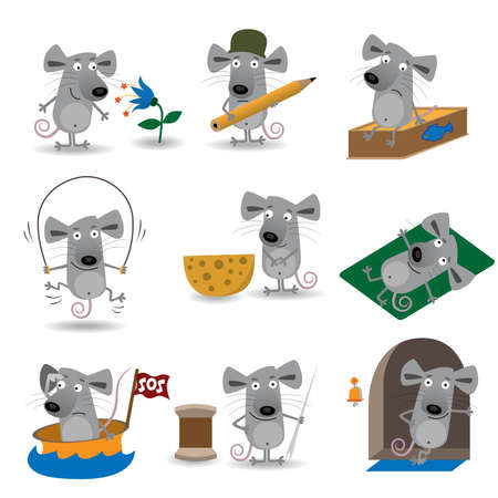 Funny mice set Vector