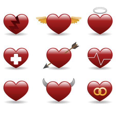 demonic: Hearts glossy icon set