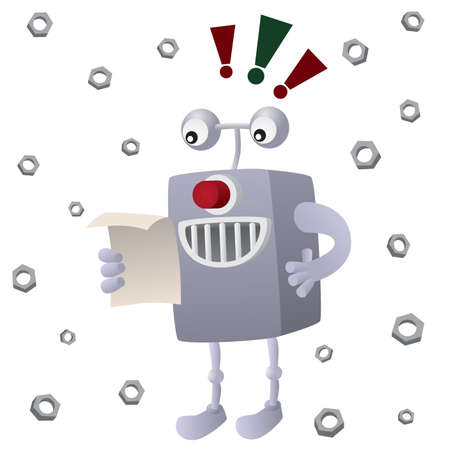 artificial leg: Cartoon illustration of Reading robot