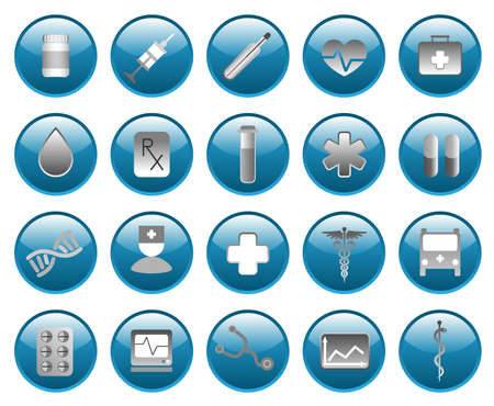 a snake in a bag: Medical and hospital shiny  icons set