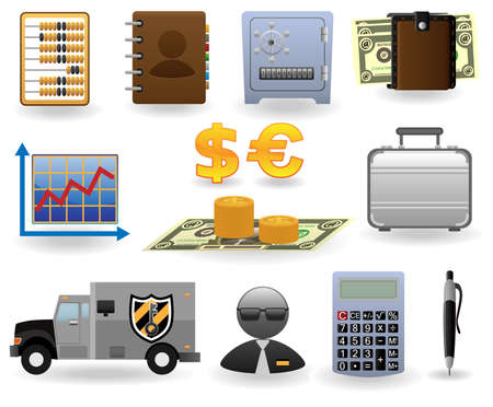 stock car: Finance and banking icons set